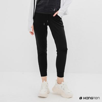 Hang Ten-女裝-恆溫多功能-REGULAR FIT標準鳥眼吸排紗涼感抗菌除臭運動長褲-黑色