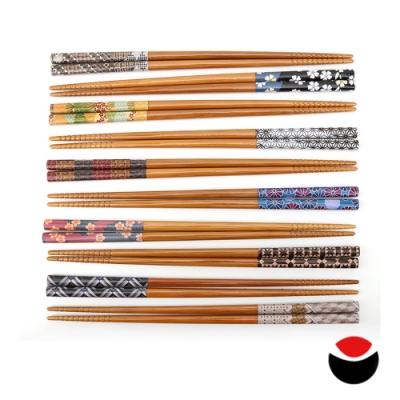 日本石田Ishida 日本製日式和風尖頭天然木筷10雙(盒裝)