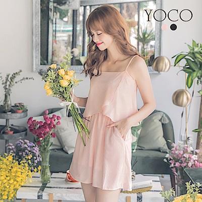東京著衣-yoco 法式美人拼接網紗細肩帶小洋裝-XS.S.M(共二色)