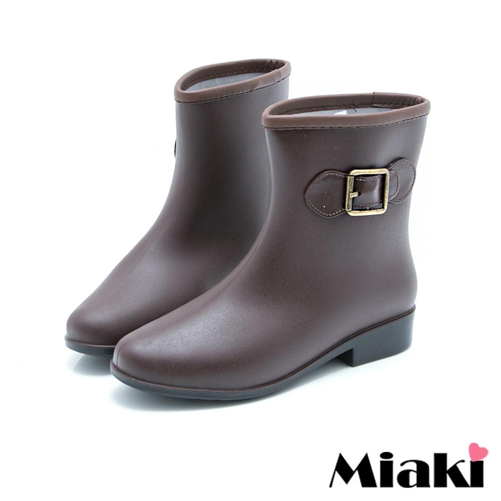 Miaki-雨靴雨天首選低跟短靴雨鞋-咖啡色