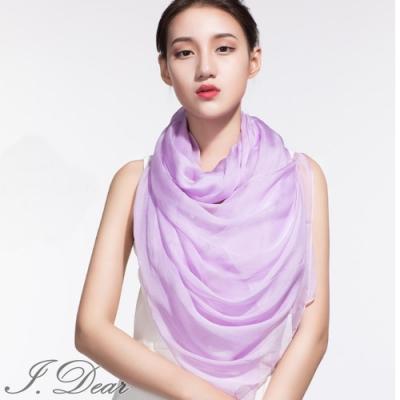 I.Dear-100%蠶絲頂級真絲素色漸層披肩/絲巾(淡紫色)