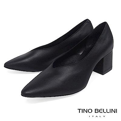 Tino Bellini 義大利進口V型深口尖楦中跟鞋 _ 黑