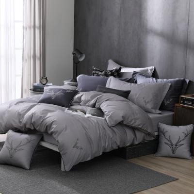 OLIVIA  Saul 淺灰 加大雙人床包兩用被套四件組 300織匹馬棉系列 台灣製