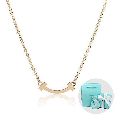 Tiffany&Co. T系列 微笑Smile 18K玫瑰金項鍊(小)