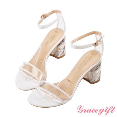 Grace gift-透明一字繫帶造型跟鞋 白