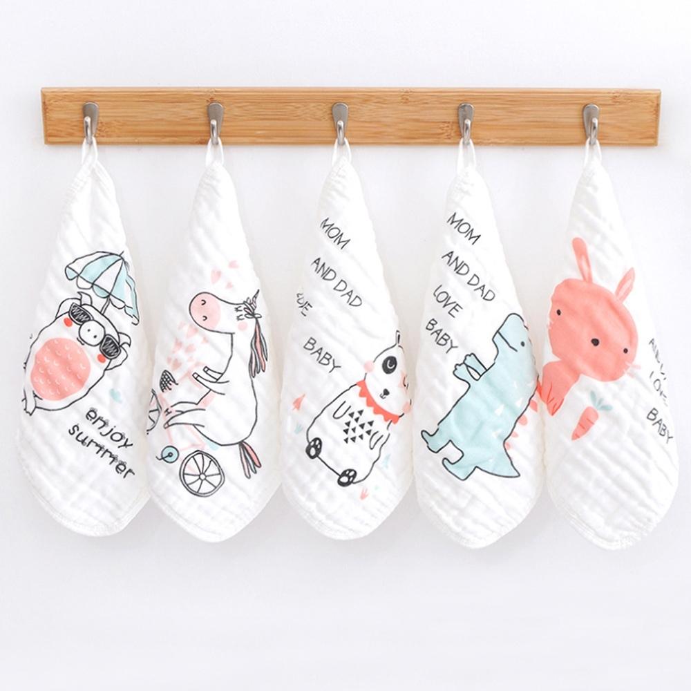 【優貝選】俏皮圖案純綿柔軟嬰幼兒水洗六層紗 布方巾 五件組