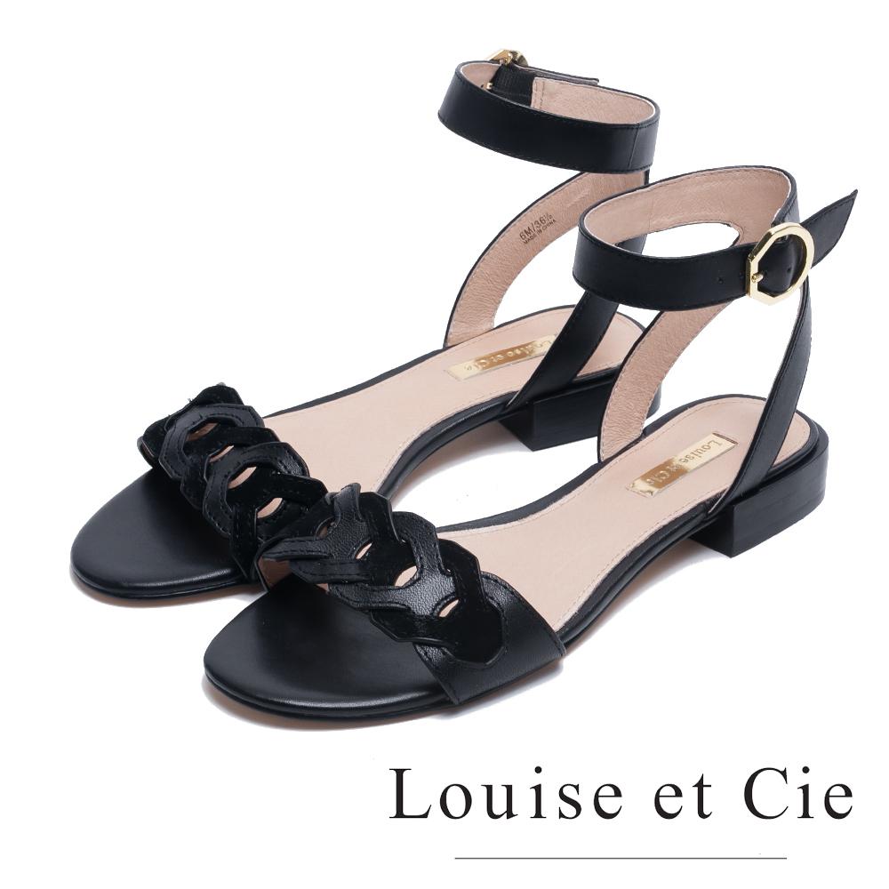 Louise et Cie 編織繞踝低跟涼鞋-黑色