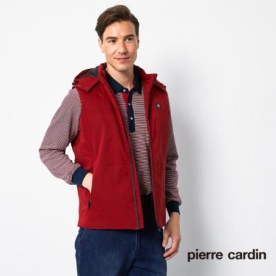 Pierre Cardin皮爾卡登 男裝 休閒掛帽羽絨背心-紅色(5195372-78)