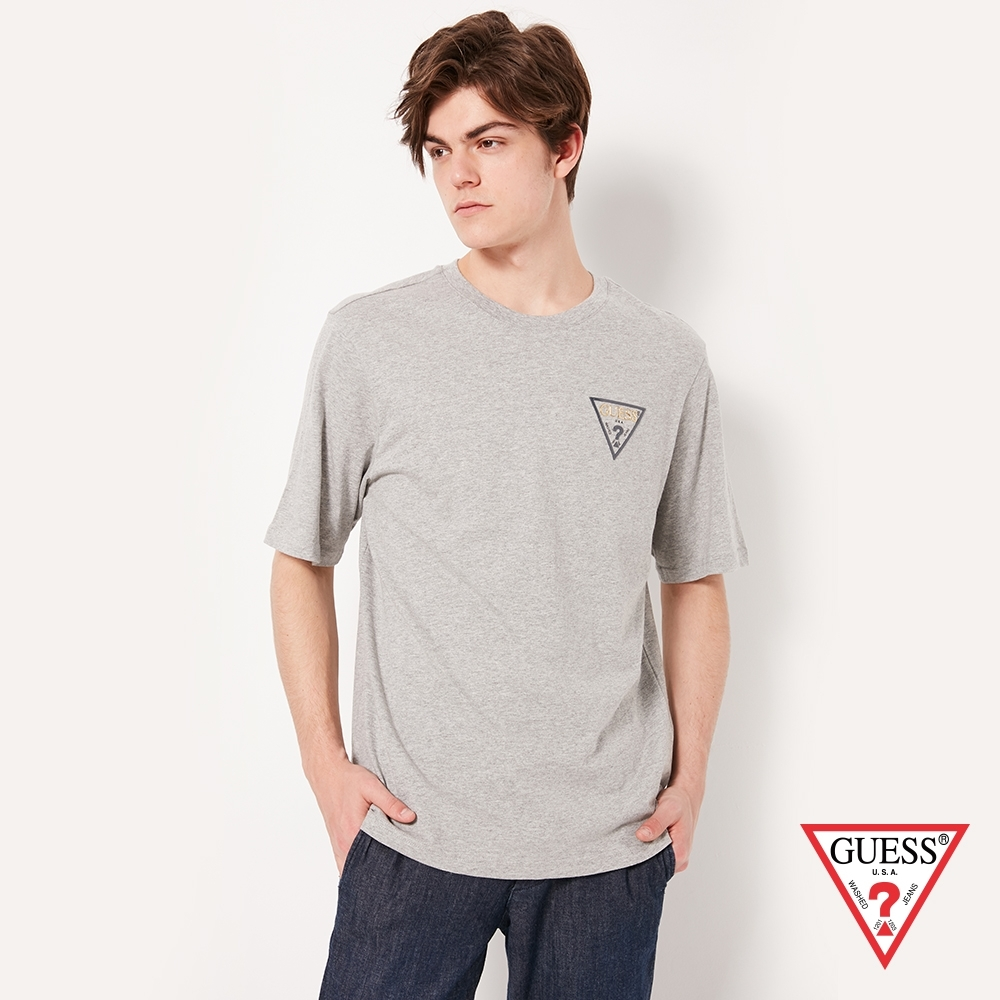 GUESS-男裝-素色經典倒三角小LOGO短T,T恤-灰 原價1290