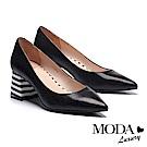 高跟鞋 MODA Luxury 簡約復古時尚羊皮黑白造型粗方跟高跟鞋-黑
