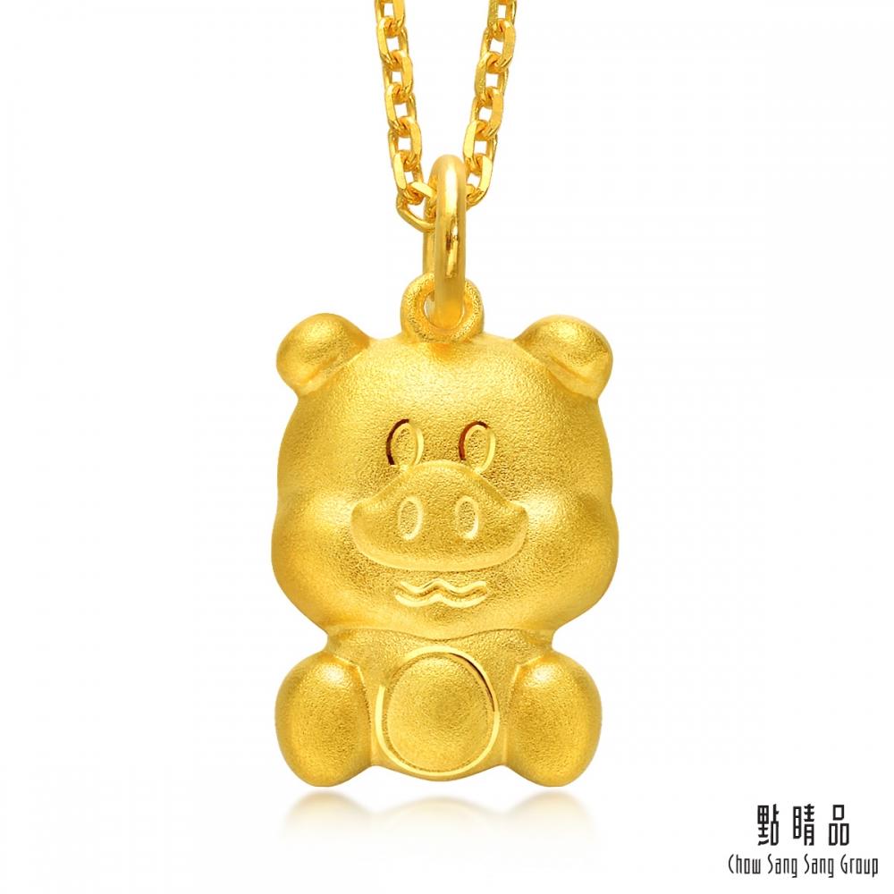 點睛品 十二生肖聰明豬日常穿搭彌月黃金吊墜 _計價黃金