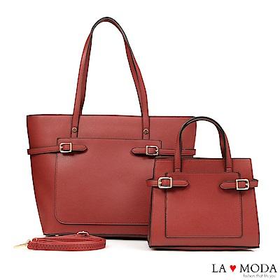 La Moda 質感滿分百搭肩背手提子母包托特包(紅)