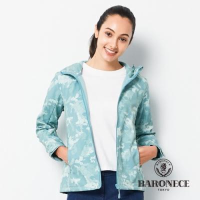 BARONECE 百諾禮士休閒商務  女裝 印連帽迷彩軟殼衣外套-湖綠色(2206691-45)