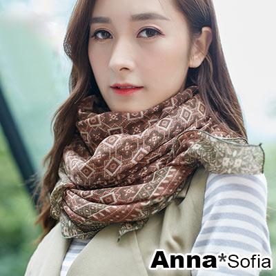 【2件450】AnnaSofia 古典續宓藤 拷克邊韓國棉圍巾披肩(咖綠系)
