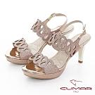 【CUMAR】情迷哈瓦那 - 兩截式一字帶鏤空透膚防水台高跟涼鞋-粉金