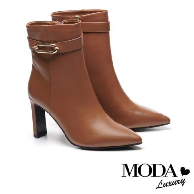 短靴 MODA Luxury 高雅品格金色釦帶牛皮尖頭高跟短靴-咖