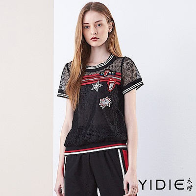 【YIDIE衣蝶】美式個性圖騰網紗上衣