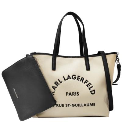 KARL LAGERFELD 卡爾 201W3114 RUE ST-GUILLAUME扣式肩揹/斜揹購物包(杏色)