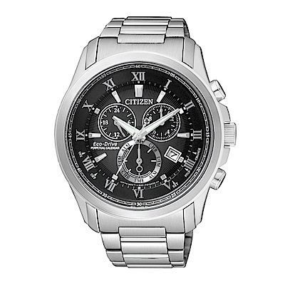CITIZEN 紳士時尚光動能萬年曆腕錶/黑面/BL5540-53E