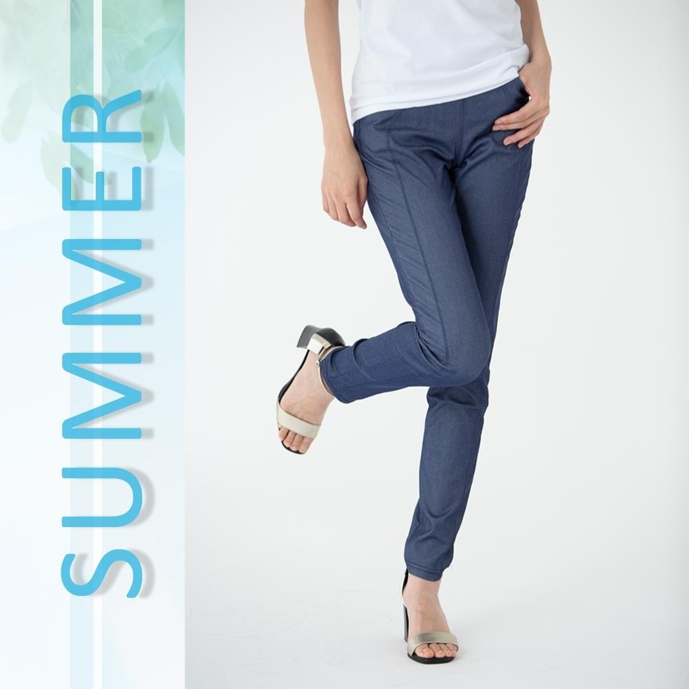 2F韓衣-名模款修身提臀涼感褲-藍-(M-3XL)