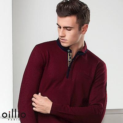 歐洲貴族oillio 長袖毛衣 純羊毛款式 創意領子設計 紅色