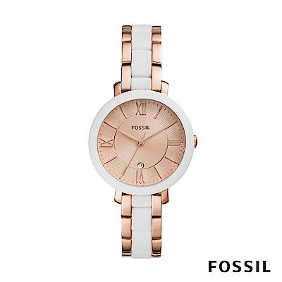 FOSSIL JACQUELINE 白x玫瑰金色賈姬風尚不鏽鋼女錶 36mm ES4588