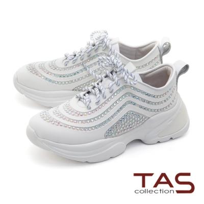 TAS異材質拼接綁帶休閒鞋-人氣白