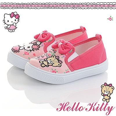 HelloKitty 少女系列 不對稱輕量減壓防滑帆布懶人童鞋-粉