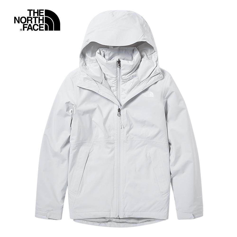 The North Face北面女款灰色防水保暖戶外三合一外套 46IC9B8
