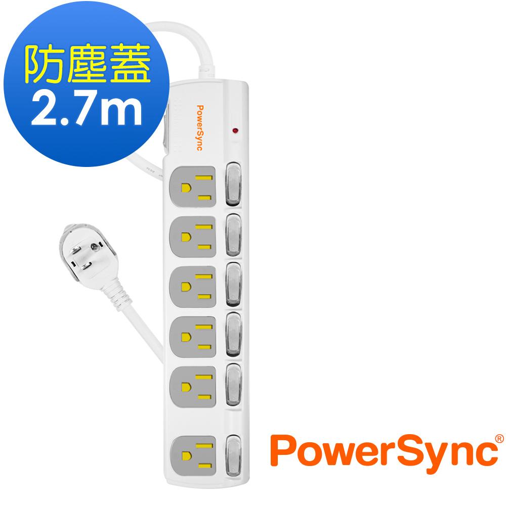 群加 Powersync 七開六插防塵防雷擊延長線/2.7m(TPS376DN9027)