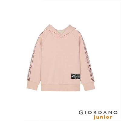 GIORDANO 童裝G-MOTION織帶連帽T恤 - 82 煙灰粉紅