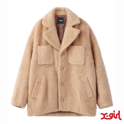 X-girl SHAGGY COCOON COAT大衣外套-米色