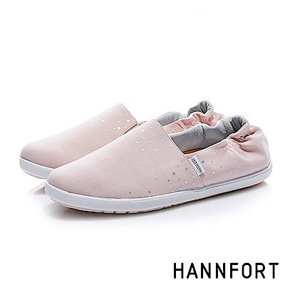 HANNFORT CALIFORNIA閃耀點點鬆緊輕量棉布鞋-女-溫柔粉