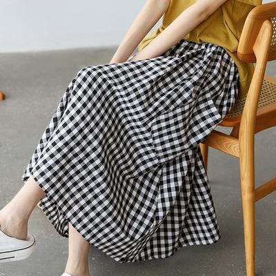格子清爽復古高腰大擺型傘裙中長裙二色可選-設計所在