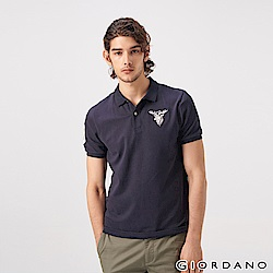 GIORDANO 男裝麋鹿漸層刺繡短袖POLO衫-66 標誌海軍藍
