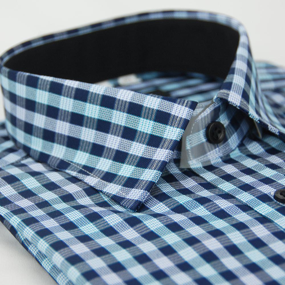金‧安德森 藍白格紋窄版長袖襯衫