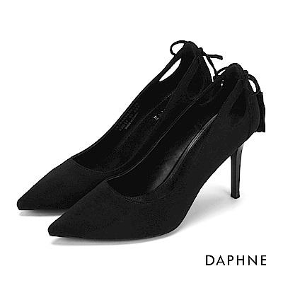 達芙妮DAPHNE 高跟鞋-蝴蝶結流蘇挖空細高跟鞋-黑