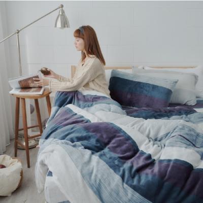 BUHO 極柔暖法蘭絨兩用毯被床包雙人加大四件組(夜調旅人)