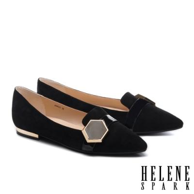 平底鞋 HELENE SPARK 時尚質感六角飾釦全真皮尖頭平底鞋-黑