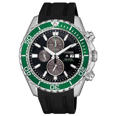 CITIZEN 噴射時尚光動能三眼計時錶-黑X綠(CA0715-03E)/43mm