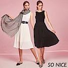SO NICE簡約壓褶雪紡拼接洋裝