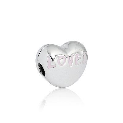 Pandora 潘朵拉 LOVED刻字愛心夾扣式 純銀墜飾 串珠