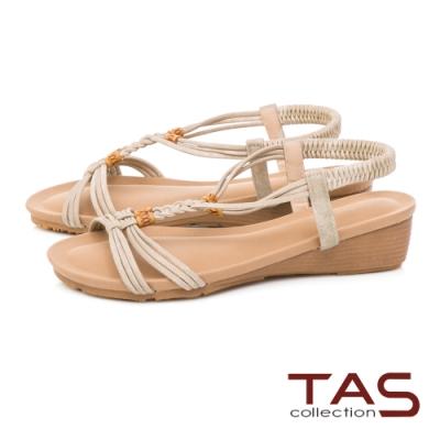 TAS 麻辮交叉編織小坡跟涼鞋-質感米