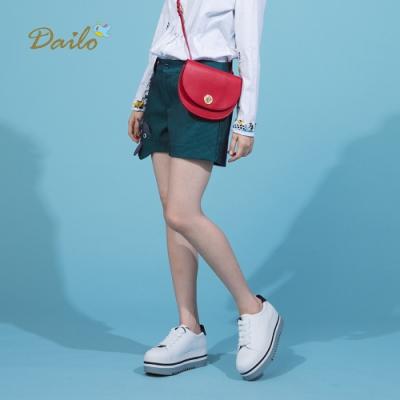 【Dailo】立體狐狸造型條紋-短褲(藍色)
