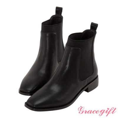 Grace gift-方頭切爾西低跟短靴 黑