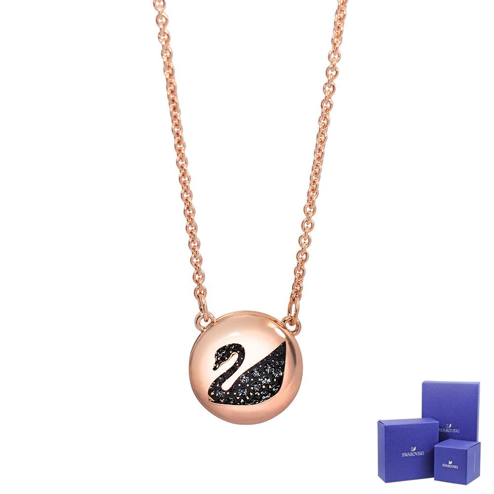 SWAROVSKI 施華洛世奇 Hall Swan黑天鵝水晶造型玫瑰金項鍊