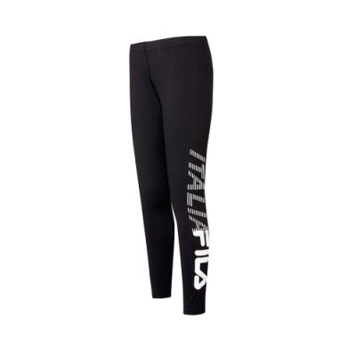 FILA 女抗UV吸濕排汗合身長褲-黑 5PNT-5311-BK