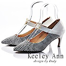 Keeley Ann 獨特魅力~千鳥格紋水鑽花真皮軟墊尖頭細跟鞋(白色-Ann)