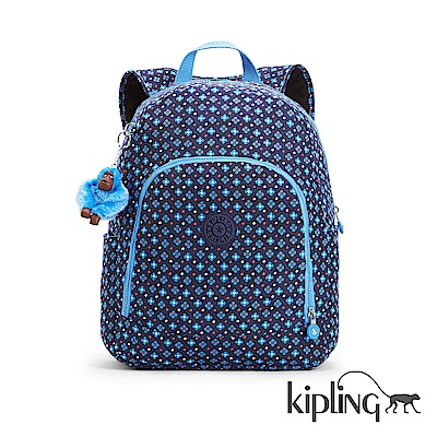 Kipling 後背包 復古藍色小花-大