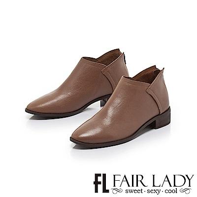 FAIR LADY 縫線皮革拼接後拉鍊低跟短靴 棕